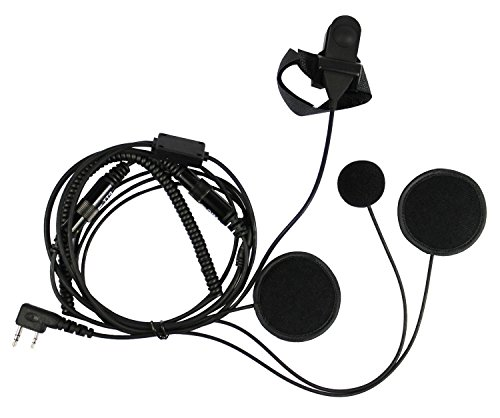 abcGoodefg 2 Pin Kenwood Full Face Moto Motorcycle Bike Earpiece Headset Mic Microphone For BaoFeng Kenwood WouXu Two Way Radio Walkie Talkie TK3173 TK3200 TK3202 TK3207 TK3230 etc(Full Face Earpiece)