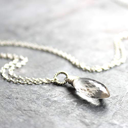 Pointed Stone Clear Crystal Quartz Necklace Sterling Silver Gemstone Faceted 20 Inches