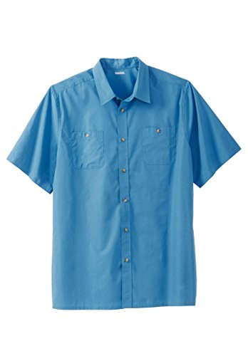 Kingsize Men's Big & Tall Short Sleeve Solid Sport Shirt, Atlantic (Big Tall Dress Clothes)