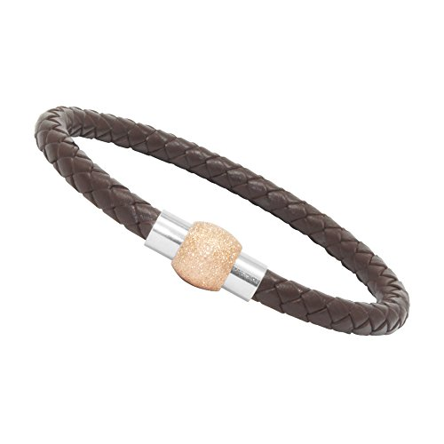 Bracelet Sand Cuff Steel Stainless (LZD Unisex Men's Genuine Leather Stainless Steel Magnetic Clasp Bracelet Brown (13 - Oval Sand Magnetic Rose Gold))