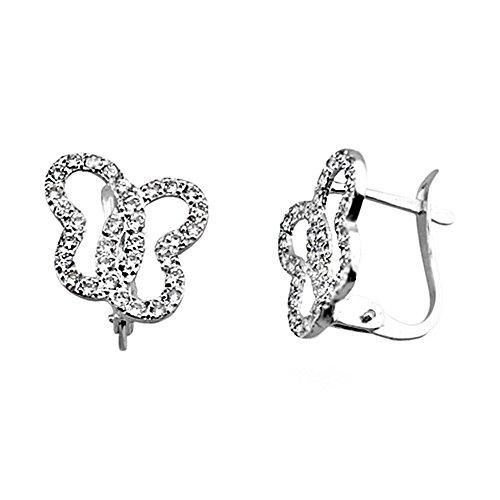 Boucled'oreille 18k or blanc zircone cubique papillon [AA6135]