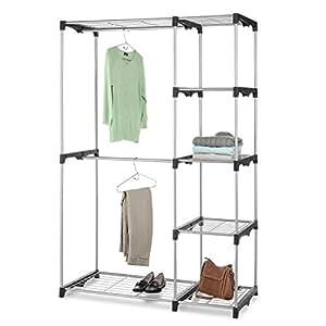 Whitmor Double Rod Closet Freestanding Silver / Black