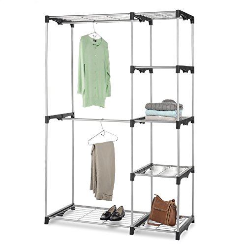 Whitmor Double Rod Closet, Freestanding Silver / Black (Shelf With Rod For Hanging Clothes)