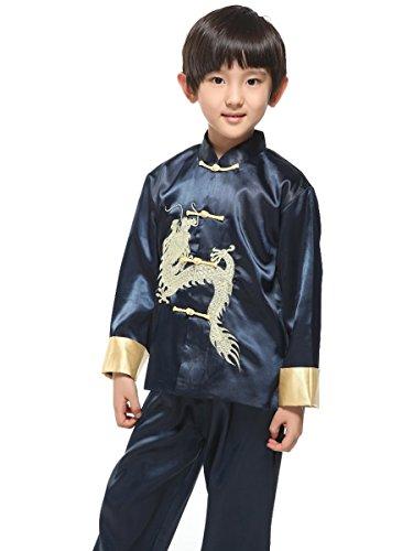 (Evaliana Kids Chinese Dragon Embroidered Tang Suit Kung Fu)