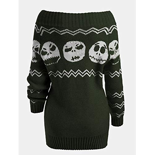 Halloween Costume, Misaky Women's Knitted Sweater Long Sleeve Skull Off Shoulder Botton Pullover(Green, XX-Large) -