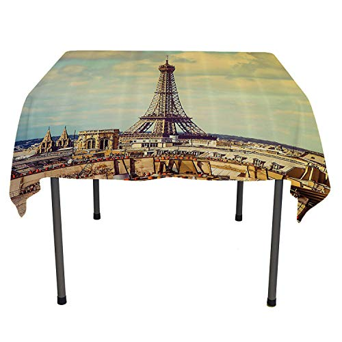 Eiffel Tower Decor Tablecloth Clear Protector Eiffel Tower Historic Vintage Cityscape Famous Monument Urban Lifestyle Art Coloring Table Cloths Spring/Summer/Party/Picnic 60 by 84
