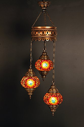 (Height: 23.6 in) Mosaic Chandelier Set 3 Globes, Handmade Authentic Tiffany Lighting Moroccan Lamp Glass Stunning Bedside Night Lights Brass&Glass Ottoman Turkish Style by LamodaHome