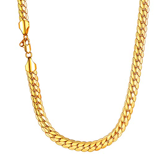 U7 Men Chunky Necklace 18KGP Stamp Hip Hop Jewelry Thick 9MM Wide 18K Yellow Gold Plated Snake Curb Chain - 24 Inches