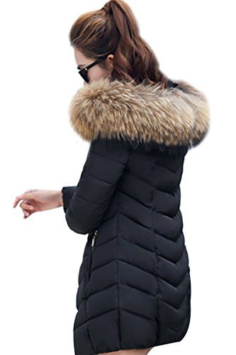 With Fur Women's Jacket Black Removable Trim Faux Hood YMING Down YAtFwqY6