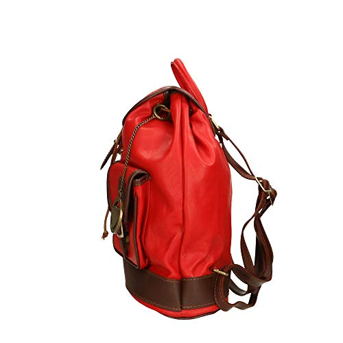Sac cuir Sac Borse Chicca dos véritable Rouge 35x32x10 in Made en à à cm dos Italy 5Ip88x