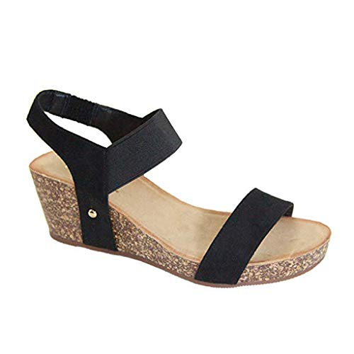 (MmNote Women Shoes, Womens Trendy Comfortable Platformed Wedge Open Toe Adjustable Ankle Sandals Shoes Black)