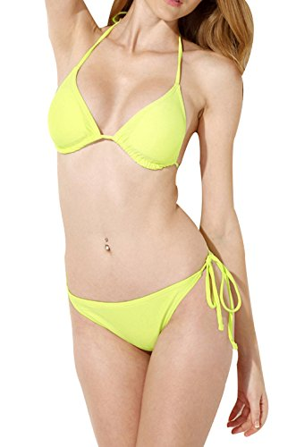 Chicside Women's Beach Solid Halterneck Two Gadgets Padded bra Bikini Set Yellow and Green L