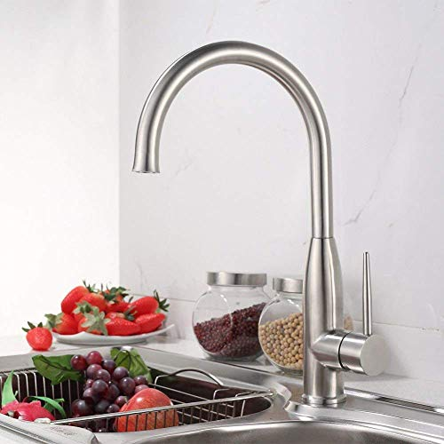 Sink Taps Hot And Cold Faucet Kitchen Faucet Sink Mixer Taps Stainless Steel Sink Faucet Basin Mixer Tap Hot And Cold Water Sink Faucet With Rotating Spout Basin Mixer Tap Brushed Brass