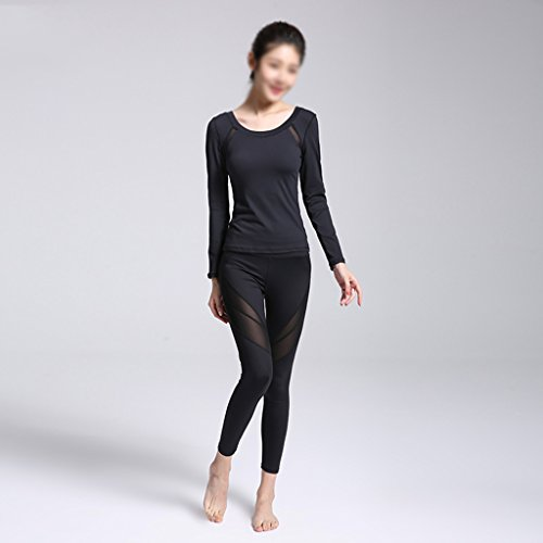 ZCJB Abbigliamento Sportivo Abbigliamento Sportivo Tute Abbigliamento Professionale Yoga Femminile Costume Da Ballo Sexy In Maglia Sottile Con Maniche Lunghe E Pantaloni Elastici ( Colore : White+blac Black+black