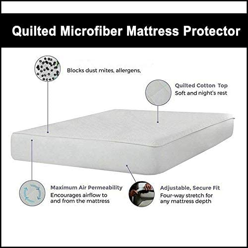 ARITRADERSLTD 30cm Deep Skirt Quilted Mattress Pad Protector Cover Case Hollowfibre Filling Hotel Quality Anti Allergic - King Size