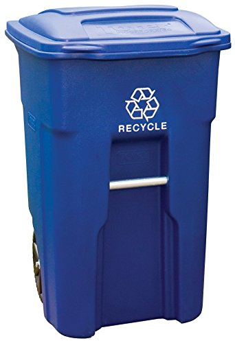 Toter 025548-R1BLU Residential Heavy Duty 2-Wheeled Recycling Can with Attached Lid, 48-Gallon, (Curbside Recycling Containers)