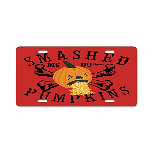 Ayibagexi Stylish Smashed Pumpkins Funny Halloween Metal Plate Frame,License Plate Covers,Car Tag - 6