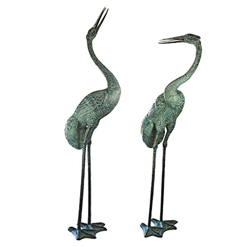 Design Toscano Colossal Cranes Bronze Garden Statue Set Garden Sculptures Statues Patio