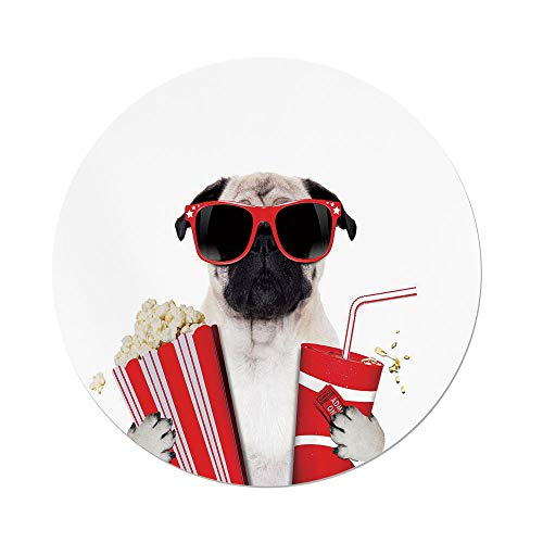 Polyester Round Tablecloth,Pug,Going to the Movies Pug Dog Popcorn Soft Drink Movie Star Glasses Animal Fun Image Decorative,Cream Red Black,Dining Room Kitchen Picnic Table Cloth Cover,for Outdoor I by iPrint