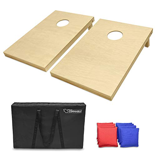 GoSports Solid Wood Premium Cornhole Set - Choose Between 4'x2' or 3'x2' Game Boards | Includes Set of 8 Corn Hole Toss - Solid Wood Stained