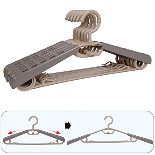 """BonDream 6-Pack Heavy Duty Plastic Extra-Wide Adjustable Shoulder Arm 15""""-23""""Suits Clothes Hangers with Swivel Hooks,Perfect for Coat,Jacket,Dress,Shirt,Trousers or closet space saving,Grey&Tan"""