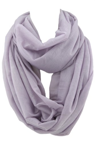 Seamless Tube Scarf Shawl - Lightweight Stretch Polyester - Pastel Purple - 70