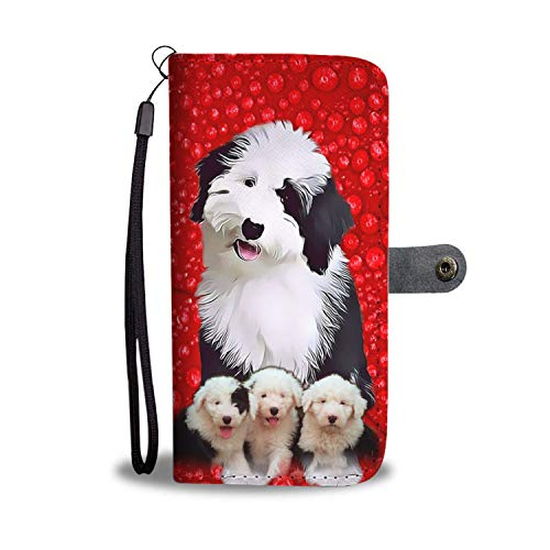 Old English Sheepdog Christmas Red Printed Leather Wallet Case for Samsung, iphone, LG, Google pixel, HUAWEI, HTC, MOTOROLA, Xiaomi - Dog printed magnetic flip cover with card slots Wrist Strap and Sh