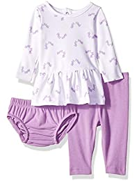 Ultimate Baby Girls Flexy Long Sleeve Dress with Diaper Cover and Legging Set