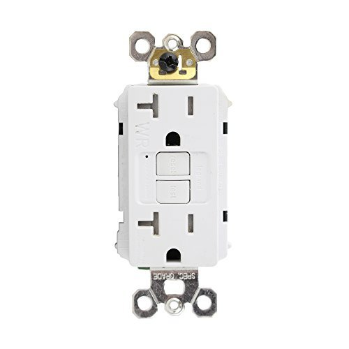 Pass & Seymour 2097-TRWRW Specification Grade Tamper and Weather Resistant Self-Test GFCI Duplex Receptacle 20 Amp 125 Volt AC NEMA 5-20R White Radiant