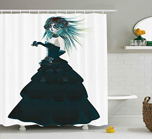 Ambesonne Girly Decor Collection, Sugar Skull Girl with Prom Dress Roses in Hand Gothic Halloween Lady Zombie Vampire Image, Polyester Fabric Bathroom Shower Curtain Set, 75 Inches Long, Green -