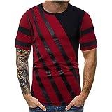 Winsummer Men Shirts Casual Cotton Fit Color Block Crewneck T-Shirt Hipster Hip-Hop Tshirt Tops Red