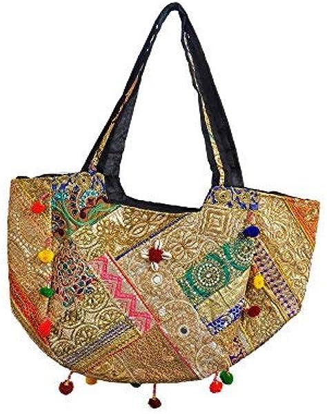 Gujarati embroidered golden shoulder bag handcrafted by Indian artisans: Handbags: Amazon.com
