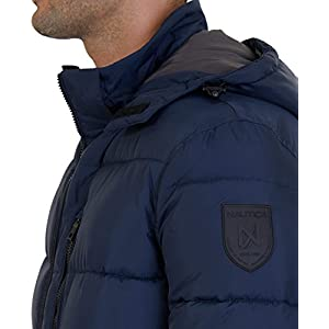 Nautica Men's Hooded Puffer Jacket, True Navy, Small