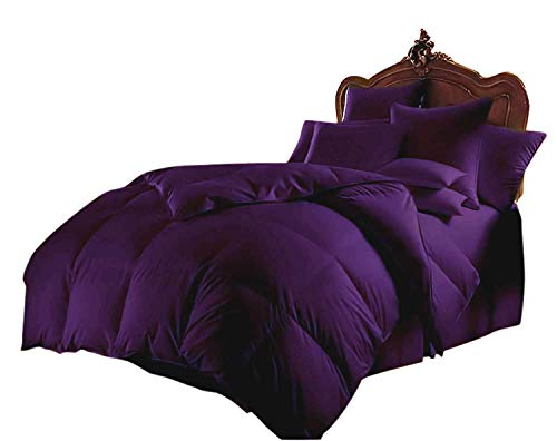 "SLEEPIFIC All Season 1000 Series 3 Piece Goose Down Alternative Comforter Set 500 GSM Quilt Duvet Insert 100% Egyptian Cotton Ultra Soft + 2 Pillow-Cases, Over-Size King, Purple, 98"" x 120"""