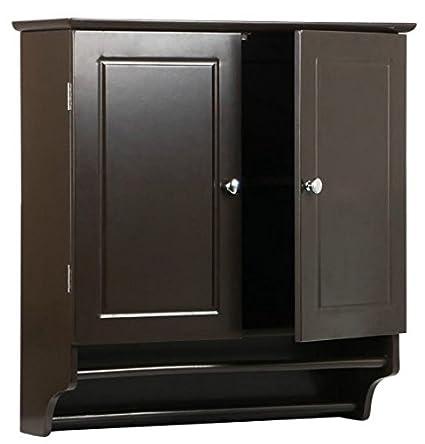 Amazon.com: Medicine Cabinet, Bathroom Storage -Wood, with Towel Bar ...
