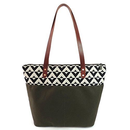 Travel Tote Bag in Hudson and Olive Canvas by Spicer Bags by SPICER BAGS