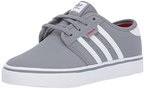 adidas Originals Unisex-Kids Seeley J Skate Shoe, Grey, FTWR White, Scarlet, 5 M US Big Kid