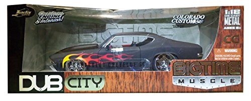 1969 Chevy Chevelle SS DUB 1:18 Diecast Model Muscle Car Black Flame Custom
