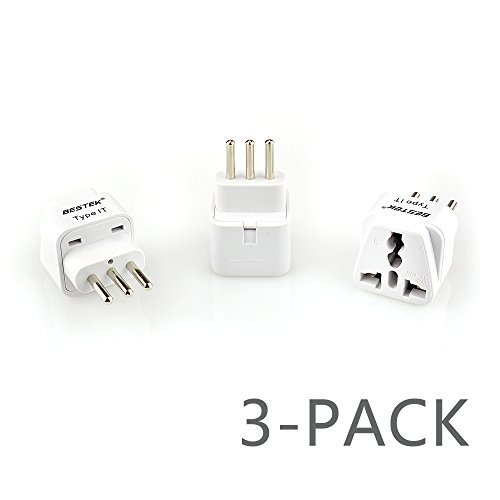 BESTEK Grounded Universal Plug Adapter Travel Plug USA to Italy Travel Prong Converter Adapter Plug Kit for Italy (Type IT) - 3 Packs