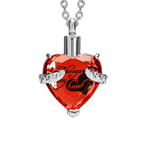 SmartChoice Keepsake Rhinestone Necklace Heart Pendant for Cremation Ashes with Beautiful Presentation Gift Box, Elegant Memorial Jewelry with Stainless Chain and Accessories (Red)
