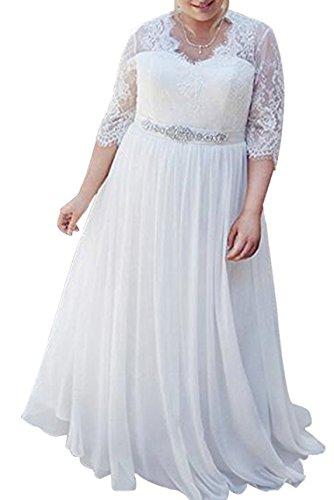 WeddingDazzle Women's Plus Size Wedding Dress Lace Beach Bridal Gown Ball Gown for Bridal 20W White
