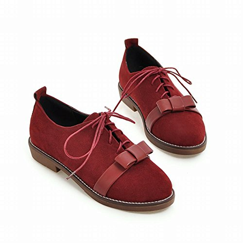 Latasa Bow Lacets À Lacets Chaussures Plates Oxford Rouge
