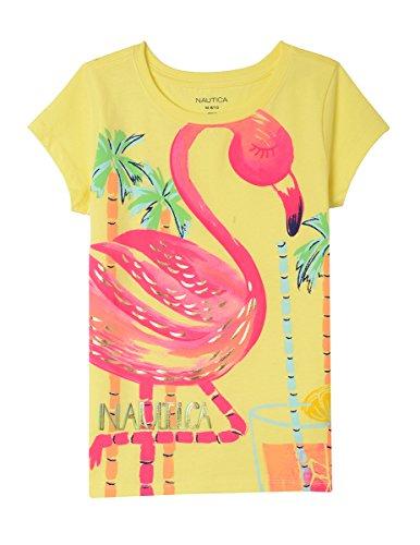 (Nautica Girls' Little Fashion Silhouette Graphic Tee Shirt, Yellow/Flamingo, 6X )