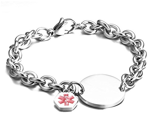 JF.JEWELRY Medical Alert ID Bracelets for Children Stainless Steel Round Tag Charm Medical Bracelets-Free Engraving