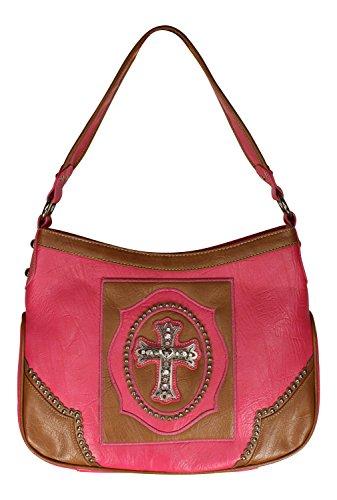 Western Themed Cross and Rhinestone Accented Handbag - 10 Inch Drop Length Purse (Fuchsia & Tan) Rhinestone Accented Handbag Purse