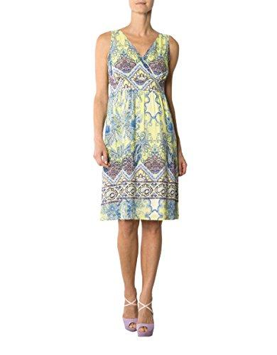 Daniel Hechter Damen Kleid Viskose Dress Gemustert, Größe: 40, Farbe: Gelb