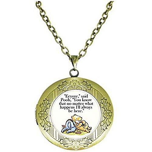 (hars Support Encouragement Classic Illustration Pooh and Eeyore Pendant - Religious Jewelry Locket)