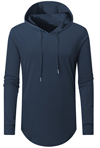 Aiyino Mens Hipster Hip Hop Long Sleeve Longline Pullover Hoodies Shirts M-L-Navy