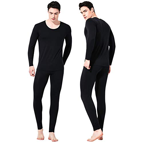 Feelvery Men's Natural Ultra-Soft Premium Tencel Silk Long Johns Thermal Underwear Set (Black, 2X-Large) ()