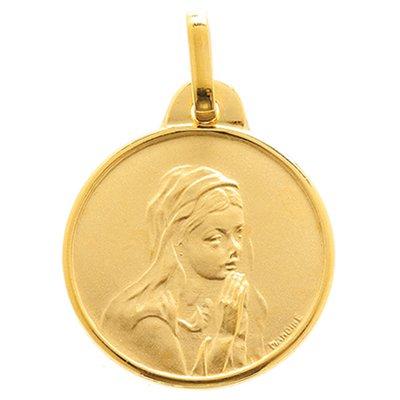 So Chic Bijoux © Pendentif Mixte - Or Jaune 375/000 (9 carats) 1,10gr - Diamètre: 13mm (hors bélière) - Médaille Ronde Satinée Vierge Marie Priant Entourage Lissé